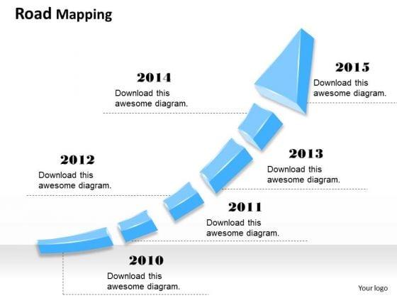 Business Framework Model Year Based Growth Arrow Diagram