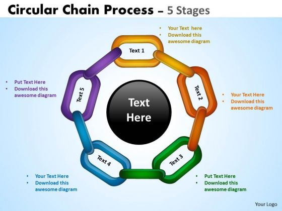 Circular Chain Flowchart Process Diagram 5 Stages Business Diagram