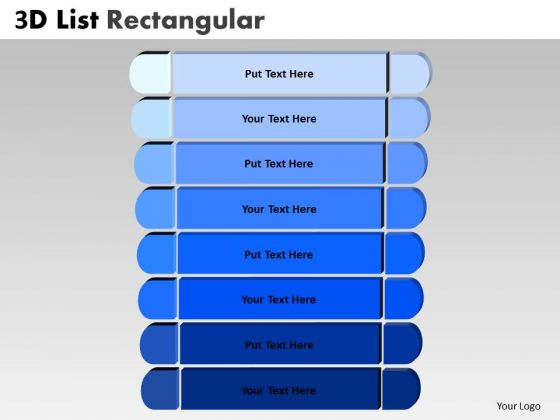 Consulting Diagram 3d Blue List Rectangular Style Strategy Diagram