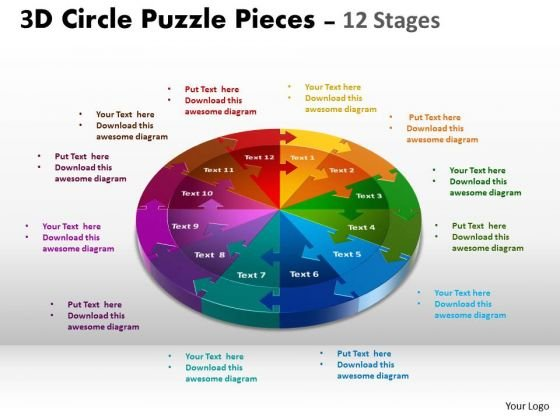 Consulting Diagram 3d Circle Puzzle Diagram 12 Stages Strategic Management