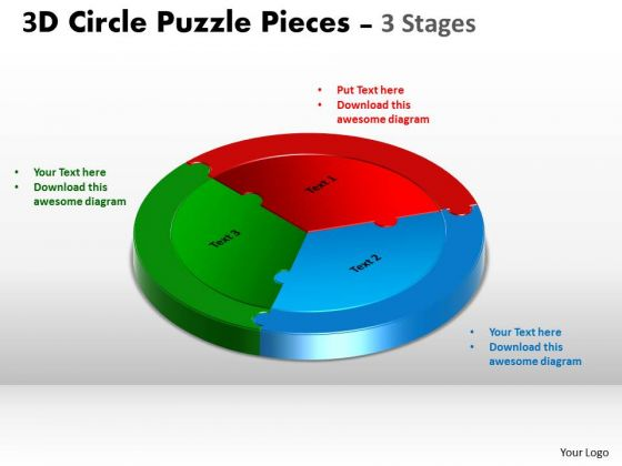 Consulting Diagram 3d Circle Puzzle Diagram 3 Stages Strategy Diagram
