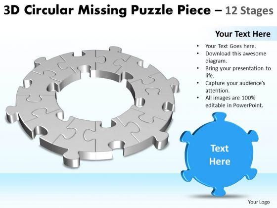 Consulting Diagram 3d Circular Missing Puzzle Piece 12 Stages Strategic Management