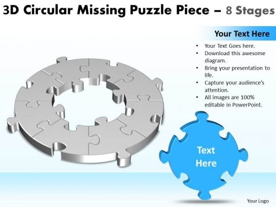 Consulting Diagram 3d Circular Missing Puzzle Piece 8 Stages Marketing Diagram