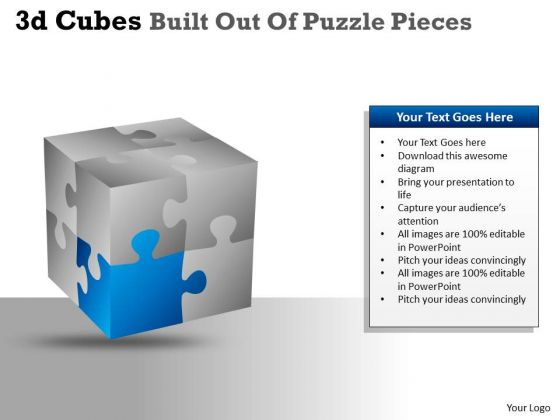 Consulting Diagram 3d Cubes Built Out Of Puzzle Pieces Business Cycle Diagram