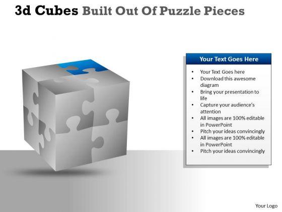 Consulting Diagram 3d Cubes Built Out Of Puzzle Pieces Strategy Diagram
