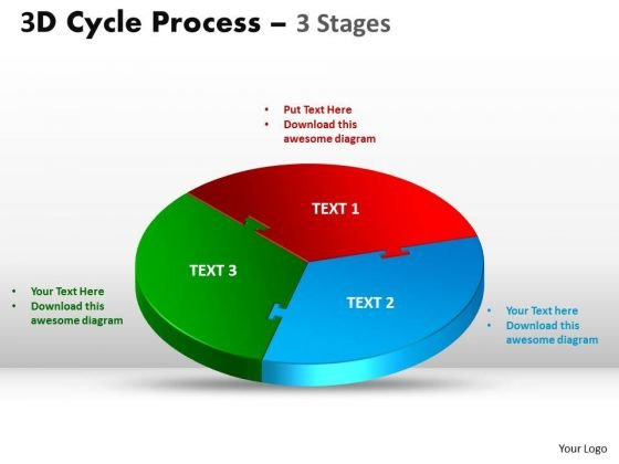 Consulting Diagram 3d Cycle Process Flow Chart 3 Stages Strategy Diagram