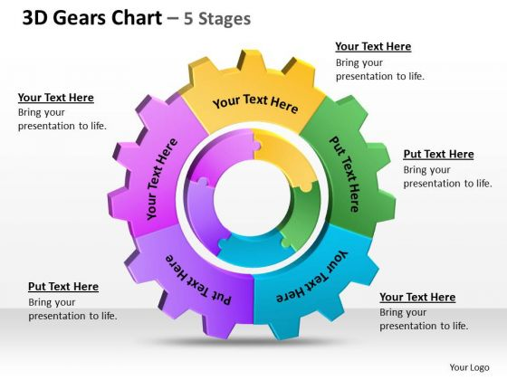 Consulting Diagram 3d Gears Chart 5 Stages 1 Strategy Diagram