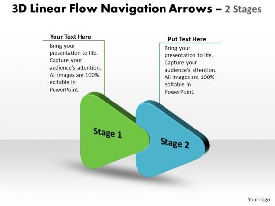 Consulting Diagram 3d Linear Flow Navigation Arrow 2 Stages