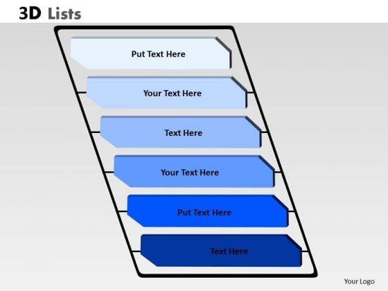Consulting Diagram 3d List 6 Stages Rectangular Diagram Sales Diagram