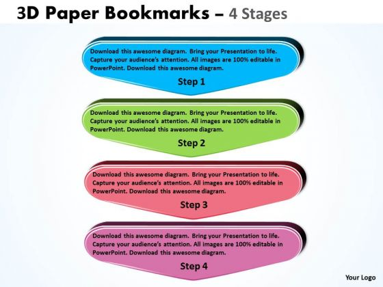 Consulting Diagram 3d Paper Bookmarks 4 Stages Sales Diagram