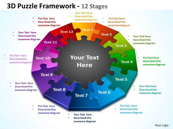 Consulting Diagram 3d Puzzle Framework 12 Stages Business Framework Model