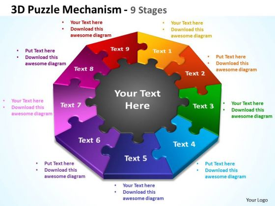 Consulting Diagram 3d Puzzle Mechanism 9 Stages Business Cycle Diagram