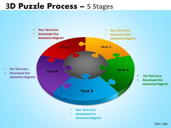 Consulting Diagram 3d Puzzle Process Diagram 5 Stages Strategic Management