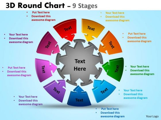 Consulting Diagram 3d Round Chart 9 Stages Business Cycle Diagram