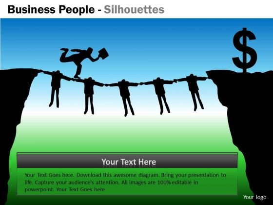 Consulting Diagram Business People Silhouettes Business Framework Model