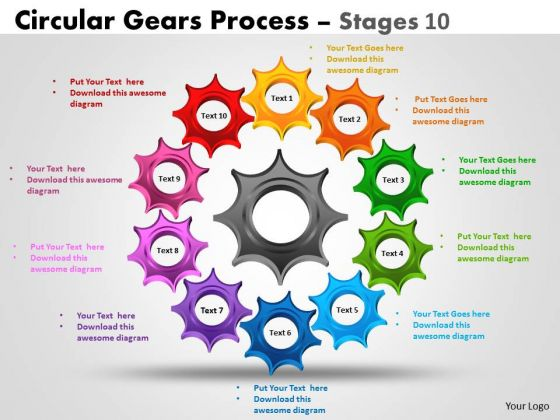 Consulting Diagram Circular Gears Diagrams Process Stages Strategic Management