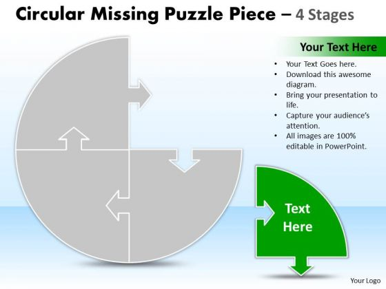 Consulting Diagram Circular Missing Puzzle Piece 4 Stages Business Diagram