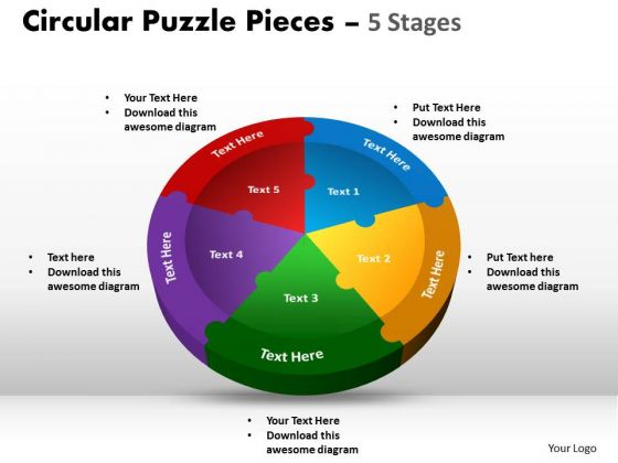 Consulting Diagram Circular Puzzle Templates Pieces 5 Stages Business Finance Strategy Development