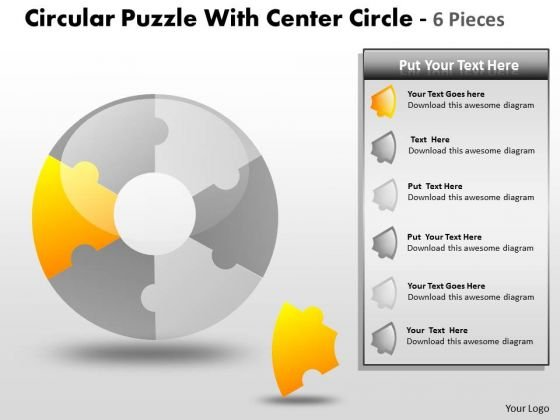 Consulting Diagram Circular Puzzle With Center Circle 6 Pieces Strategy Diagram
