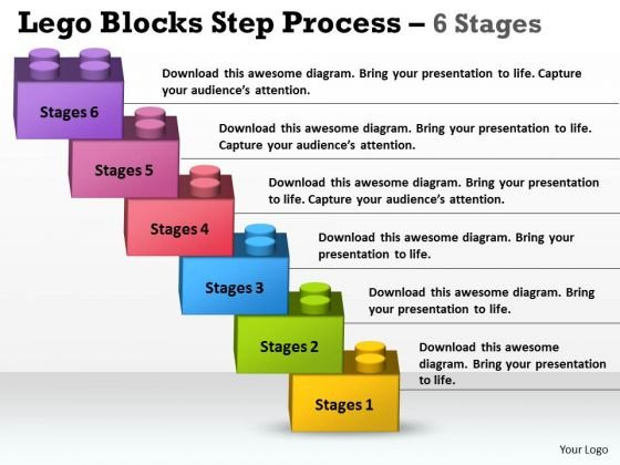 Consulting Diagram Lego Blocks Step Process 6 Stages Strategy Diagram