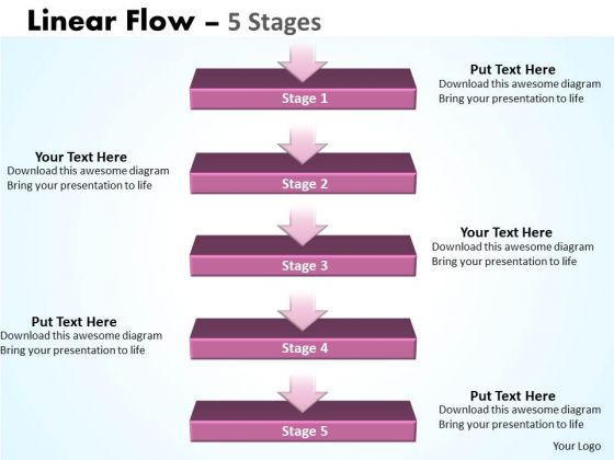 Consulting Diagram Linear Flow 5 Stages Strategy Diagram