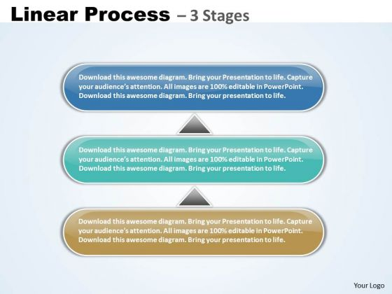 Consulting Diagram Linear Process Business 3 Stages Strategy Diagram