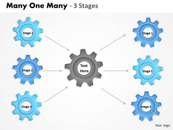 Consulting Diagram Many One Many 3 Stages Sales Diagram