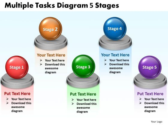 Consulting Diagram Multiple Tasks Diagram 5 Stages Strategy Diagram