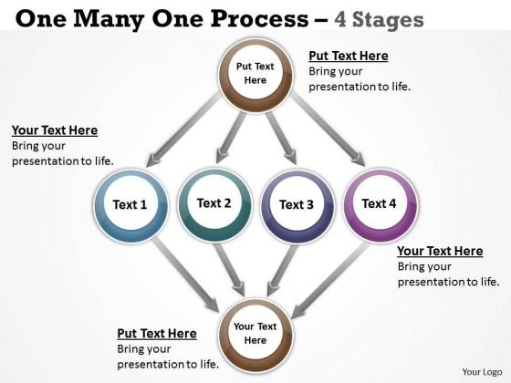 Consulting Diagram One Many One Process 4 Stages Strategy Diagram
