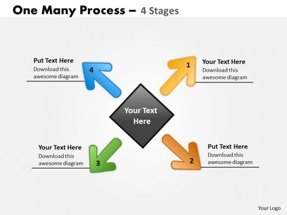Consulting Diagram One Many Process 4 Stages Business Cycle Diagram