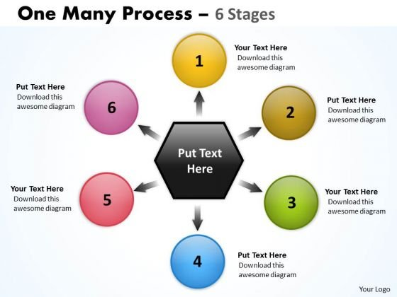 Consulting Diagram One Many Process 6 Stages Business Framework Model