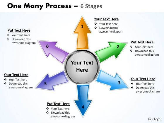 Consulting Diagram One Many Process 6 Step Business Framework Model