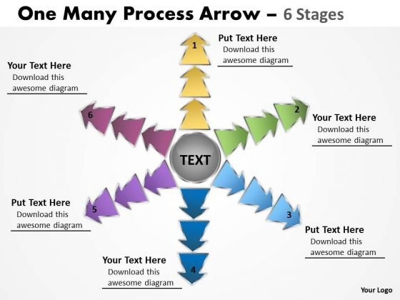 Consulting Diagram One Many Process Arrow 6 Stages Sales Diagram