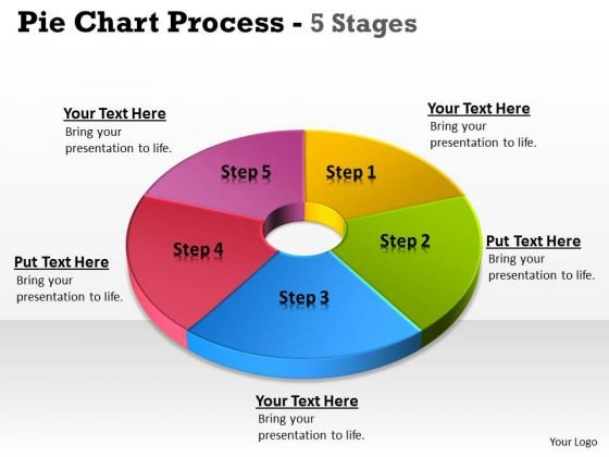 Consulting Diagram Pie Chart 5 Step Circular Strategy Diagram