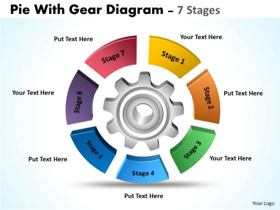 Consulting Diagram Pie With Gear Diagram 7 Stages Strategic Management