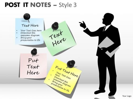Consulting Diagram Post It Notes Style Business Finance Strategy Development