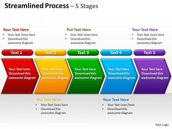 Consulting Diagram Streamlined Process 5 Stages Business Finance Strategy Development