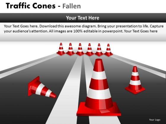 Consulting Diagram Traffic Cones Fallen Business Diagram