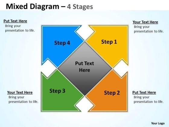 Consulting Diagram Two Arrow Mixed Diagram 4 Stages Marketing Diagram