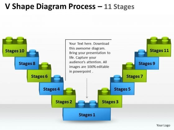 Consulting Diagram V Shape Diagram Process 11 Stages Business Diagram