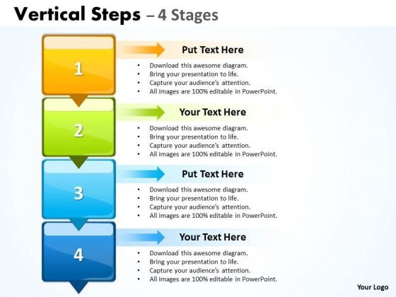 Consulting Diagram Vertical Steps Colorful Diagram Strategy Diagram