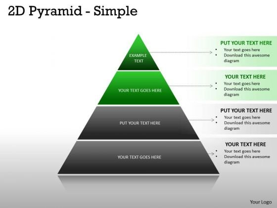 Marketing Diagram 2d Pyramid Simple Design With 4 Stages Business Diagram