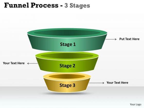 Marketing Diagram 3 Staged Independent Funnel Process Business Framework Model