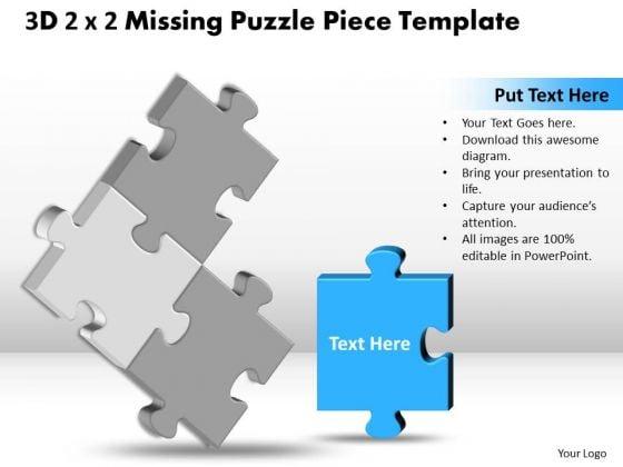 Marketing Diagram 3d 2x2 Missing Puzzle Piece Business Framework Model