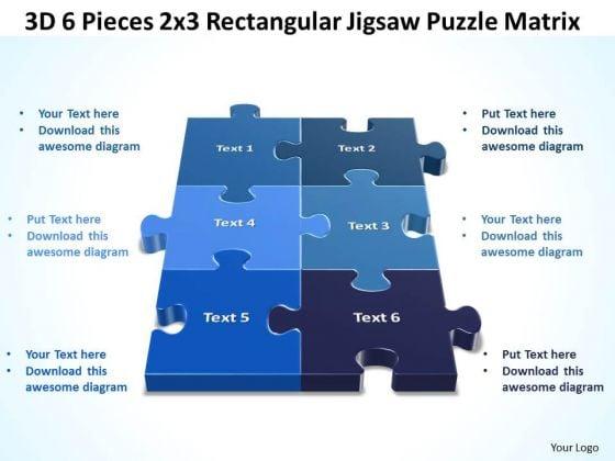 Marketing Diagram 3d 6 Pieces 2x3 Rectangular Jigsaw Puzzle Matrix Sales Diagram