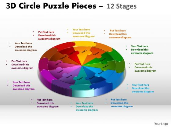 Marketing Diagram 3d Circle Puzzle 12 Stages Business Finance Strategy Development