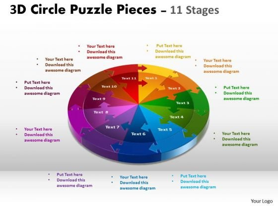 Marketing Diagram 3d Circle Templates Slide Layout 11 Stages Business Framework Model