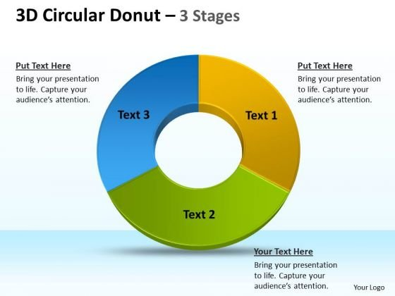 Marketing Diagram 3d Circular Donut 3 Stages Consulting Diagram
