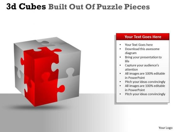 Marketing Diagram 3d Cubes Built Out Of Puzzle Pieces Consulting Diagram