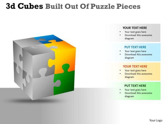 Marketing Diagram 3d Cubes Built Out Of Puzzle Pieces Sales Diagram